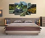 GIRDSSC Modernos Dormitorios Artística Impresión Affiche Imagen Decoracion Salon Cuadros 5 Piezas Lienzo XXL Grandes Murales Ninja Race Bike Superbike Moto GP Tamaño 150Cm 80 Cm