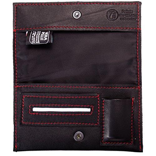 Pellein - Portatabacco in vera pelle Rosso Hero - Astuccio porta tabacco, porta filtri, porta cartine e porta accendino. Handmade in Italy