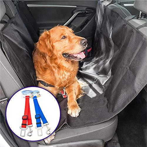Rc Ocio Funda Coche Perro + 2 x Cinturon de Seguridad de Coche para Perro/Fundas Protectora Asientos Trasero y Maletero/Manta Cubre Asientos Ultra Resistente, Impermeable y fácil de Montar.