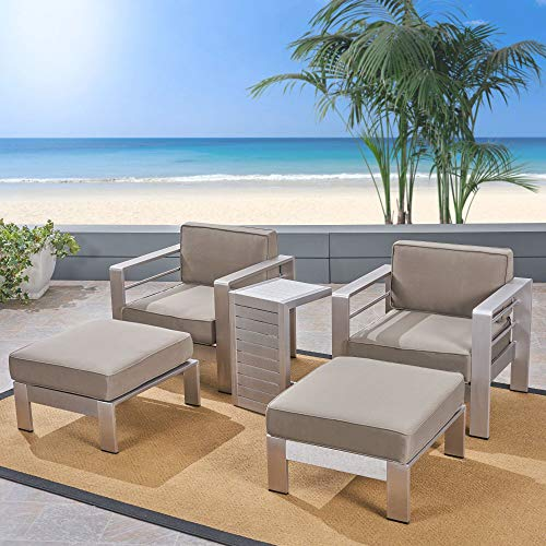 5-Piece Silver Contemporary Aluminum Outdoor Furniture Patio Chat Set - Khaki Cushions
