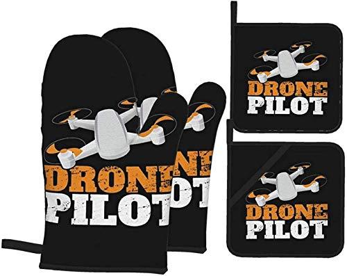 MODORSAN Drone Pilot 2 Manoplas para Horno y Soportes para ollas Juego de Cocina de 4 Resistentes al Calor para Barbacoa,microondas,Barbacoa,Primavera/Verano
