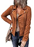 Mujer Solod Color PU Cuero Chaqueta Bomber Abrigo Cremallera Frente Abierto Basic Moto Tops Manga Larga Ropa de abrigo