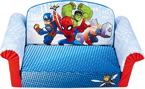 Marshmallow Furniture 2-in-1 Flip Open Foam Couch Bed Sleeper Sofa Kid's Furniture for Ages 18 Months and Up, Marvel Super Heroes Adventure