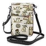 Lawenp Pirates Treasure Set Crossbody Monedero para teléfono Pequeño Mini bolso de hombro Bolsa para teléfono celular Cartera de cuero para mujeres y niñas