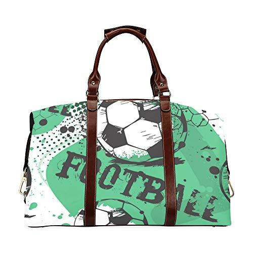 Mens Duffel Bag Travel Abstract Jungen Fußball Classic Übergroße wasserdichte Pu-Leder Mens Gym Duffel Bag Handtasche Taschen