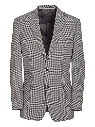 Paul Fredrick Men's Tailored Fit Wool Houndstooth Peak Lapel Suit Jacket Black/Grey 42 Regular RA034J
