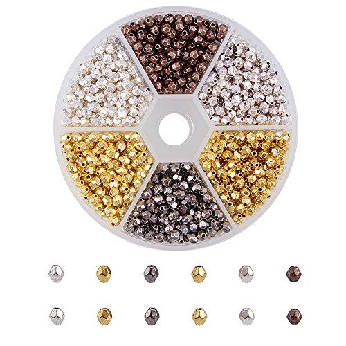 PandaHall Elite 1200pcs Argento Tibetano Lega Perline distanziatori per Fai da Te bigiotteria, Colore Misto, 4x3.5mm, Foro: 1 mm