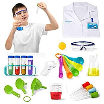 NONZERS Kids Science Experiment Kit Lab Set with Lab Coat 24 Pieces Scientific Kit Scientist Costume Dress Up and Role Play DIY Chemistry Experiment STEM Gift for Boys and Girls Age 5+