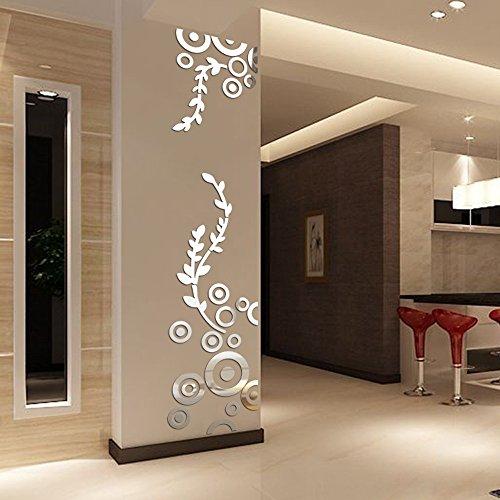 Topgrowth Specchio da Parete Creativo Cerchio Squillare Acrilico Adesivi Murali a Specchio 3D Decalcomanie (Argento)