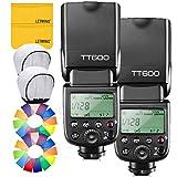 【GODOX 正規代理店/日本語説明書付】GODOX Thinklite TT600 フラッシュ スピードライト ストロボ 内蔵2.4G ワイヤレストリガ・システム 1/8000S高速シンクロ Canon, Nikon, Pentax, Olympus DSLR カメラ対応 (2個入り)