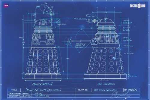 (24x36) Doctor Who - Dalek Blue Prints TV Poster by Poster Revolution by Poster Revolution