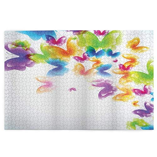 Jigsaw Puzzles 1000pieces,Group Of Butterflies Band In Radiant Rainbow Colors Hope Summer Garden Art,LargePuzzleFamily Educational GameArtworkforAdult KidsTeens 29.5'x19.5'