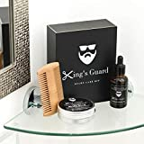 King's Guard Luxury Grooming Beard Care Kit – Natural Beard Oil + Beard Comb + Beard Balm -...