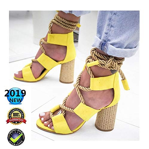 Sandals Wedges Espadrilles hoog, Peep Toe Plateau wighak dames zomer elegant enkelriem gesp wigsandalen plat leer comfortabele casual schoenen, 8 cm hoge hak geel