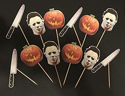 Halloween inspired cupcake toppers, Michael Myers inspired decorations, Horror movie lovers, 80's slasher films