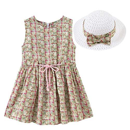 IMJONO Style de Vacances Fille Robe sans Manches Robe à Fleurs bébé Fille + Chapeau de Paille Ensemble de vêtements pour 2020 Tenue d'été pour Enfants 2-7 Ans (Beige,2-3 Ans
