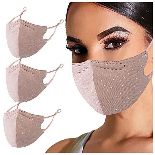 UOWEG 1/3/5 StückTupfendruck Glitzer Mund-Nasenschutz Multifunktionstuch Glänzend Waschbare Maske Baumwolle Stoff Maske Halstuch Schals, Mund-Nasen-Abdeckung für Erwachsene