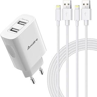 Avoalre 12W Cargador iPhone con 2 Puertos USB + 2 Pack Cable Lightning 2M Certificado MFi Carga Rápida 2.4A Cargador de Pa...