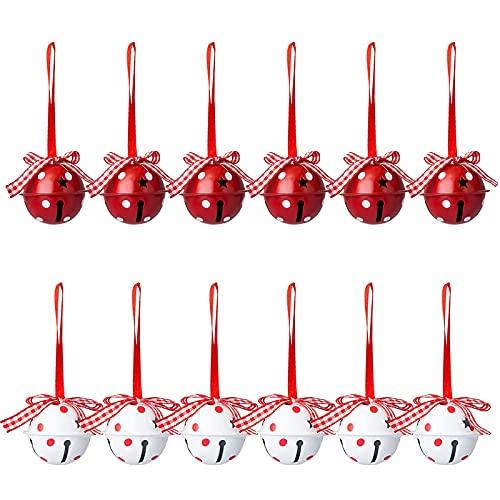 Adornos de Navidad con forma de cascabel, metal hierro Navidad cascabeles manualidades, campana redonda de Navidad con lazo para decoración de árbol de Navidad, ventana, puerta, suministros de fiesta