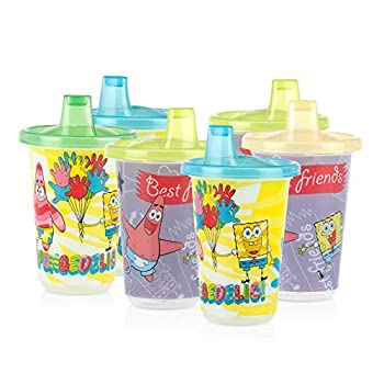 Nuby 6 Pack Wash or Toss Reusable Cups & Lids with Spout Nickelodeon Spongebob Squarepants 10 Oz