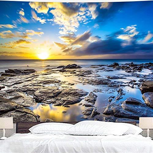 WERT Océano Amanecer Atardecer Tapiz Colgante de Pared, Dormitorio Dormitorio decoración de la Pared Familiar Tapiz Tela de Fondo A3 150x200cm