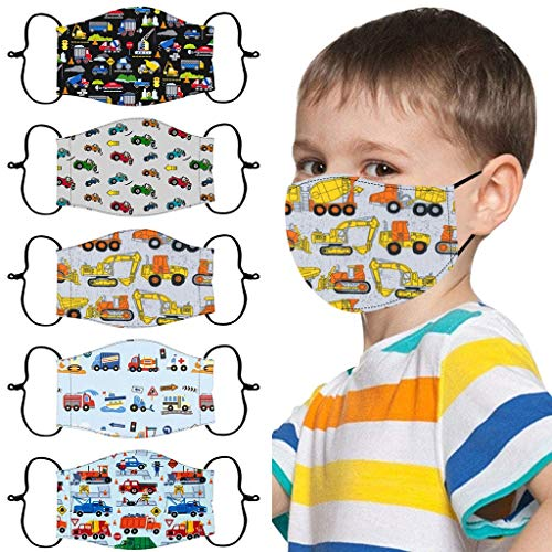 5PCs Kids Face_Mask, Children's Adjustable Cartoon Printed Dust_Mask, Windproof Reusable Face_Coverings, Washable Safety_Mask for Boys Girls Outdoor School