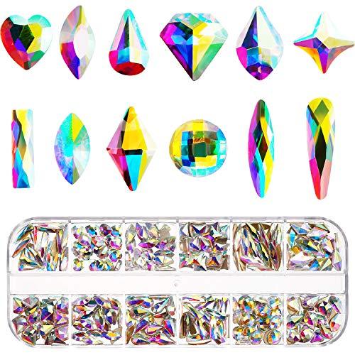 Nagelkristalle AB 240 Stücke Nagel Kunst Flache Rückseite Strasssteine Gemischt Nagel Diamond Stone für Nagel Kunst Kleidung Schuhe Taschen Kunsthandwerk (240 Mix-Form)