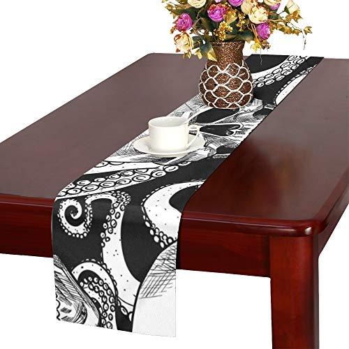QIAOLII Schädel Tentakeln Octopus Tischläufer, Küche Esstisch Läufer 16 X 72 Zoll für Dinnerpartys, Veranstaltungen, Dekor