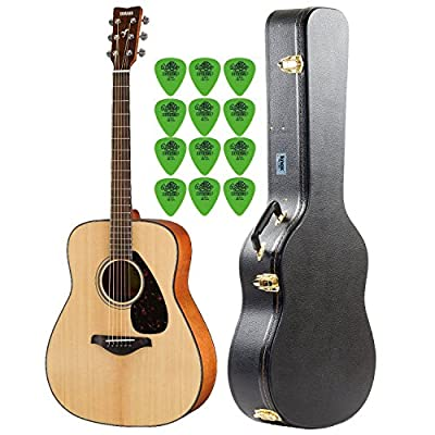 Yamaha FG800 Natural Folk Guitar with Knox Hard Shell Acoustic Guitar Case & Guitar Picks (12-Pack)