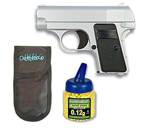 Outletdelocio. Pistola Airsoft Mini G1 Color Plata, Metalica. Calibre 6mm. + Funda Portabalines + Biberon 1000 Bolas. 23054/21993