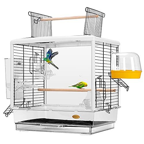 VIVOHOME 19 Inch Acrylic Bird Travel Carrier Cage for Parrots Conures Lovebird Cockatiel Parakeets