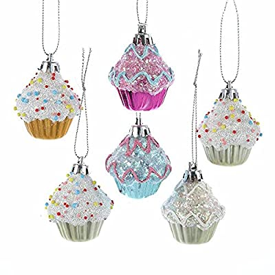 Set of six 2 inch glass cupcake ornaments in pastel colors