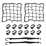 AuInLand 2 PCS Bungee Net 2 PCS 15 x 15 Inch Elastic Motorcycle Bicycle Cargo Nets with 12 PCS Adjustable Plastic Hooks