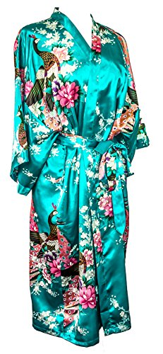 Kimono Robe Long 16 Colors Premium Peacock Bridesmaid Bridal Shower Womens Gift, 8 - 16 UK adult, Blue Turquoise