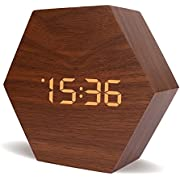 Warmhoming New Style Wooden Clock, Hexagon Wooden Digital Alarm Clock with Time Date Temperature and Voice Control (Brown)