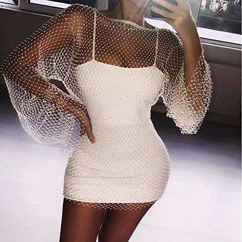 Nanad Damen Kleid Abendkleid Party Sexy Mesh Stricken Ausgehöhlte Strass Fischnetz Nachtclub Rundhalsausschnitt Langarm Lose Mini-Bikini Abdeckung Up, nicht null, weiß, Free Size
