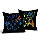 Game Controller Throw Pillow Covers 2 Pcs Gamer Pillow case 18x18 inch Cotton Teen Gaming Pillows Decorative Cushion Cover for Boyes Room Couch Bed Sofa,Double Side Printed