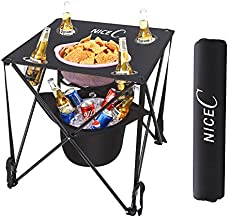 NiceC Folding Table with Cooler Built-in, Portable Camping Table, Ultralight Compact with Carry Bag for Outdoor, Beach, BBQ, Picnic, Cooking, Festival, Indoor, Office(Black)