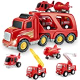 Fire Truck Car Toys Set, Friction Powered Car Carrier Trailer with Sound and Light, Play Vehicle Set...