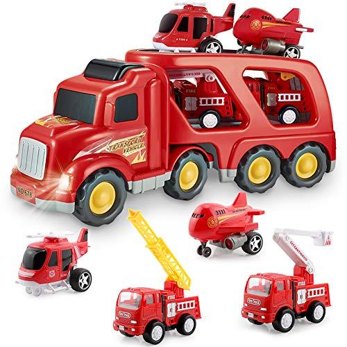 BIMONK Camion dei Pompieri Giocattoli per Bambini, Macchinine per Vigili del Fuoco Modelli Attrito Camion con luci e Suoni, Prima educazione Car Toy Veicoli inerziali per Bambini e Bambini