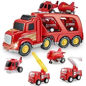 Coches de Juguete Set para Niños - Camión de Bomberos Juguete Coche Vehiculo con Luz y Sonidos, Juguetes Niños Educativos de 3 4 5 6 Años para Cumpleaños Navidad Fiestas Escuelas