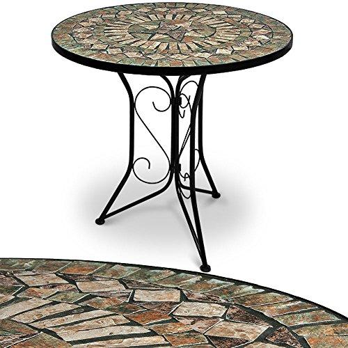 Mosaiktisch Gartentisch Barcelona Ø 60 cm Rund Handgefertigte Mosaik Gestell Wetterfest Balkontisch Bistrotisch Kaffeetisch Garten Tisch