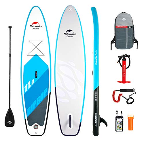 Naturehike 11' Foot Stand Up Paddle Board (6 Inches Thick 32inches Wide) SUP - Hand Pump, Carry Bag, Adjustable Paddle, Coil Leash, Center Fin All Accessories Included