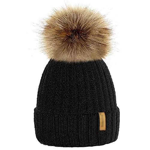 mioim Mutter & kinder Mütze Strickmütz Winter Warm Hüte Beanie für Baby Mädchen Jungen und Damen mit Pelz Bommel (Kinder 15cm*20cm, Schwarz)