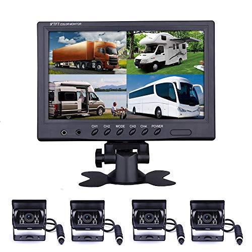 9 Zoll Rückfahrkamera Set mit 4pin Kabel, 4 Wasserdicht Spiegel Kameras für LKW Wohnmobil Wohnwagen Landwirtschaft, 12V/24V/35V Einparkhilfe Hinten