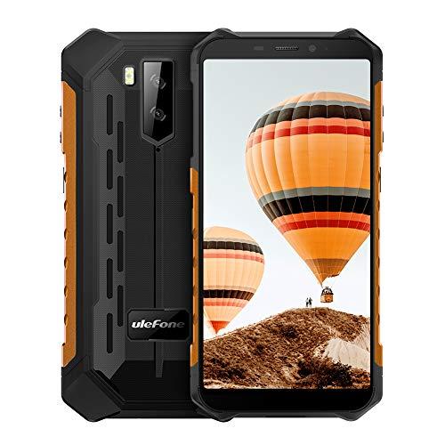 Ulefone Armor X3 Móvil Libre, Resistente IP68 Impermeable Smartphone de 5.5' (18:9) HD+, 32GB+2GB, Doble Cámara de 8MP + 2MP y 5MP,5000mAh Batería,Android 9 Dual SIM Face ID+GPS/Wi-Fi (Naranja)