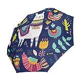 Emoya Paraguas Colorido Llama, Cactus, Flores, pájaros, diseño étnico, Resistente al Viento, Compacto, Paraguas de Viaje automático