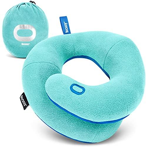 BCOZZY Almohada de viaje para niños de 8 a 12 años/O – Evita que la cabeza se caiga hacia adelante, cómodo viaje por carretera, esencial, suave, lavable, tamaño mediano, azul claro