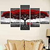 Stampa su Tela Paesaggio del banco Rosso dell'albero Rosso Immagine di Arte della Parete 5 Pezzi di Immagine Moderna Pittura Soggiorno Camera da Letto Divano TV Sfondo Palestra Decorazione della casa