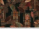 ab 1m: Viskose Mousseline, Blätter, schwarz-braun, 142cm